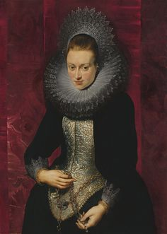 Portrait of a young woman with a rosary. circa 1609-1610. oil on panel. 107 × 76.7 cm (42.1 × 30.2 in). Madrid, Museo Thyssen-Bornemisza