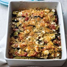 Layered Eggplant, Zucchini, and Tomato Casserole recipe from the Food Channel