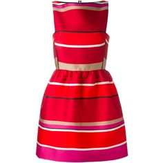 Lanvin Striped Skater Dress ($2,770) ❤ liked on Polyvore featuring dresses, red, red circle skirt, striped skater skirt, skater dress, red skater skirt and sleeveless dress
