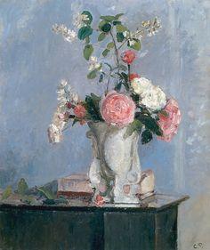 Bouquet de roses : Camille  Pissarro, 1873