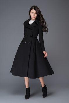 Long gray wool coat winter women coat fit and flare coat Green Wool Coat, Long Wool Coat, Fur Coat, Coat Dress, The Dress, Jacket Dress, Fit And Flare Coat, Winter Coats Women, Winter Jackets