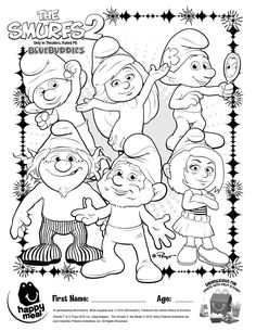 The Smurfs 2 Coloring Sheet