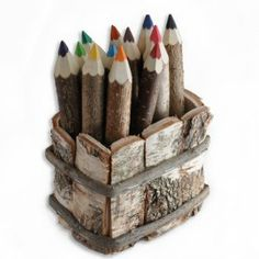 Giant Colored Twig Pencils in handmade wooden basket.