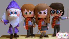 BOnecos Harry Potter, Dumbledore , Hermione e Ron, confeccionados em feltro.