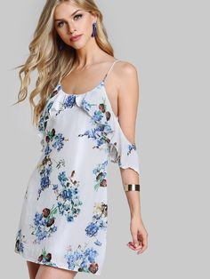 ¡Consigue este tipo de vestido informal de SheIn ahora! Haz clic para ver los detalles. Envíos gratis a toda España. Frilled Cold Shoulder Low Back Floral Dress: White Multicolor Sexy Vacation Rayon Spaghetti Strap Cold Shoulder Half Sleeve Shift Short Zip Ruffle Floral Fabric has no stretch Summer Tunic YES Dresses. (vestido informal, casual, informales, informal, day, kleid casual, vestido informal, robe informelle, vestito informale, día)