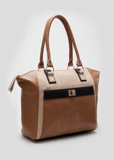 87f2f0d97701 Colour Block Pocket Tote Bag - Matalan