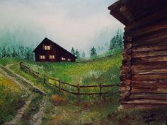 Szántó Ágnes Alpesi ház Olaj Cabin, House Styles, Home Decor, Homemade Home Decor, Cabins, Cottage, Decoration Home, Cubicle, Interior Decorating