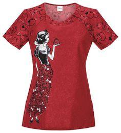 Cherokee Tooniforms Medical Scrubs Snow White Fairest Of Them All Top Sz XS NWT #CherokeeTooniforms
