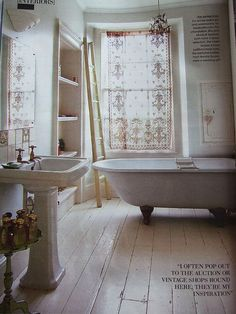(I like both the painted white floor and the lace curtains) Pearl Lowe lace curtains and gorgeous bathroom Pearl Lowe, Bad Inspiration, Bathroom Inspiration, Ideas Baños, Lace Curtains, Curtain Fabric, Linen Curtain, Curtain Panels, Beautiful Bathrooms