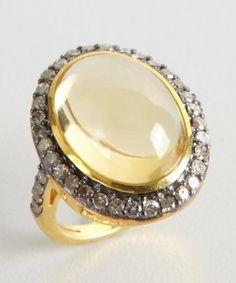 Amrapali : citrine and diamond gold cabochon ring : style # 321245101