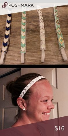"4 nonslip headbands Inside is lined with velvet ribbon to prevent slipping. Elastic back allows for stretch to fit most heads. 19"" length - 23.5"" length with stretch. Set comes with the four headbands shown in picture. Accessories Hair Accessories"