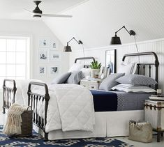 Need bedroom inspiration? Shop Pottery Barn for stylish bedroom furniture and decor. Create an warm and cozy bedroom oasis with quality bedding in classic styles and colors. Plywood Furniture, Bedroom Furniture, Bedroom Decor, Bedding Decor, Kids Bedroom, Bedroom Lamps, Bedroom Lighting, Twin Bedroom Ideas, Bedroom Office