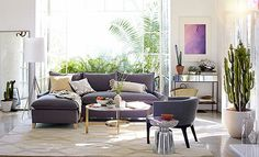 Easy Elegance Living Room | West Elm. Shades of purple + grey, potted succulents. #Home #Decor & #Design via Christina Khandan IrvineHomeBlog Irvine, California ༺༺  ℭƘ ༻༻