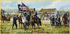Meade's Headquarters, Gettysburg, PA, July 2, 1863 - Major General George G. Meade, commander of the Army of the Potomac, speaks to Major General Winfield S. Hancock of the Second Corps while fighting commences on the Union left.