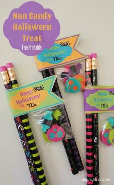Non Candy Halloween Treats with Printable Labels: Avoid food allergy concerns this Trick-or-Treat with fun non-food gifts!
