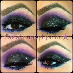 On the lid is Chromaline in Black Black with She Who Dares Mineralize eyeshadow packed on top (all by MAC Cosmetics). On the crease is Make Up For Ever number 92 and MAC Stars and Rockets best purples ever! Bottom liner is Inglot gel liner in number 77 and smudged on top of that used called Strike a Pose by MAC  blended with Stars and Rockets. Highlight is Kevin Aucoin Celestial powder in Candlelight and lashes are the 102's by Red Cherry and thats it!  #makeupbylysette