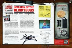 """Blinkybugs: tiny  """"insects"""" that light up when they detect motion."""
