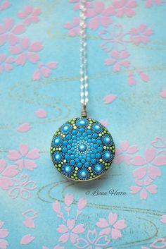 Mandala stone pendant and silver sacred geometry blue dot art dot mandala stone mandala by Liona Hotta #etsy #jewellery #necklace #blue #silver #women #geometric #circle