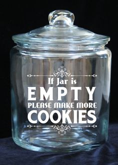 1 Gallon Glass Cookie Jar If Jar is Empty...Please by JoyousDays