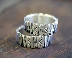 Wedding Ring?  Tree Bark Sterling Silver Personalized Band by monkeysalwayslook, $104.00