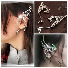 Dragons, elf ears, silver, and skill all come together in these gorgeous ear cuffs by Etsy seller ManikID. The beauty of the designs coupled with the delicate look of the silver feel like they've … Ear Jewelry, Body Jewelry, Fine Jewelry, Jewelry Making, Skull Jewelry, Emerald Jewelry, Hippie Jewelry, Jewlery, Pandora Jewelry