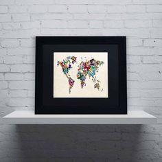 Trademark Fine Art Butterflies Map of the World II Canvas Art by Michael Tompsett, Black Matte, Black Frame, Size: 16 x 20