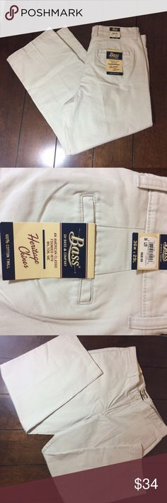 Bass heritage chinos nwt Men's size 36w 29l bass heritage 100% cotton twill chinos. Waist measures 18 1/2 inches flat across, inseam is 28 inches and rise is 12 inches. Bass Pants Chinos & Khakis