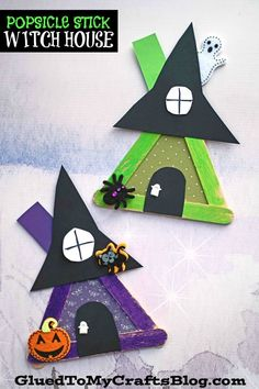 Popsicle Stick Witch House – Halloween Kid Craft Idea - - Do you dare enter this post from Glued To My Crafts? Have no fear - this Popsicle Stick Witch House kid craft tutorial is WICKEDLY easy! We promise! Kids Crafts, Ghost Crafts, Spider Crafts, Glue Crafts, Fall Crafts, Holiday Crafts, Diy And Crafts, Canvas Crafts, Recycled Crafts