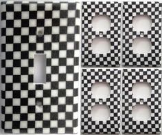 Nascar Racing Checkered Flag Light Switch Outlet Cover Set 1&4 Boys Wall Decor