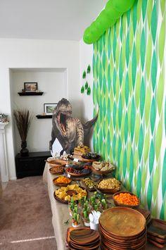 Austin's dinosaur party decorations / food table. Dinosaur party food