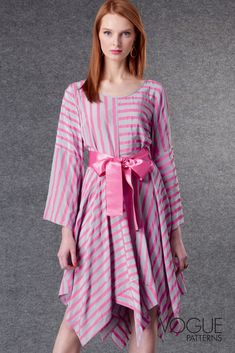 Misses' dress & belt (semi-fitted through bust) has scoop neckline finished with contrast binding, bust darts, set-in sleeves with flounce, handkerchief hemline, baby hems, invisible back zipper. Designed by Zandra Rhodes | Vogue Patterns  #sewingpatterns #sewingproject #sewing #womenssewingpatterns #fashionsewing #designerpatterns #designersewingpatterns #dresssewingpatterns #dresspatterns #ZandraRhodes #voguepatterns Vogue Sewing Patterns, Simplicity Sewing Patterns, Miss Dress, Fashion Sewing, Belted Dress, Dress Patterns, Hemline, Pattern Design, Zandra Rhodes