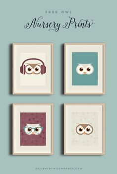Baby Shower Gift - Owl Nursery Prints - Designs By Miss Mandee. Who doesn't love hipster animals!? Check out these totally rad owl designs: perfect for a kids room or gallery wall.
