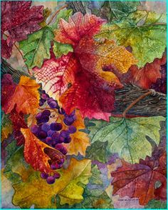 """You can see tiny little cells everywhere, just by looking at the stems of a leaf!Watercolor on Clay Panel, """"Wine Country Color"""", by Sandy Delehanty Watercolor Artists, Watercolor Flowers, Watercolor Paintings, Watercolors, Paint Flowers, Arte Floral, Leaf Art, Art Plastique, Wine Country"""