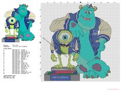 Monsters University Sully and Mike free cross stitch pattern