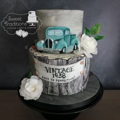 Vintage Birthday Cake #1938FordTruck #vintage #80thbirthday #agedtoperfection 80th Birthday Cake For Men, Vintage Birthday Cakes, Themed Birthday Cakes, 60th Birthday, Aged To Perfection, Custom Cakes, Cake Cookies, Party Themes, Sweet Treats