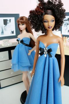 Fashion Doll Dress : Delicate Blue Gown by FroggyStuff on Etsy