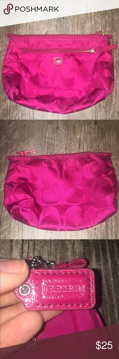 Coach Cosmetic Bag Beautiful maroon colored Coach cosmetic bag! This is a used item. Perfect for travel or for throwing make up into and then throwing into your purse! This bag has a few spots on it but I'm sure it will come out with a baby wipe. Coach Bags Cosmetic Bags & Cases