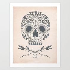 LEAF SKULL Art Print by Kelli Murray - $18.00