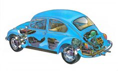 Volkswagen Beetle 1200 technical cars cutaway