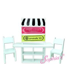 Sophia's Concession Stand Set for 18'' Doll. Perfectly fit for any 18'' doll, this concession stand set makes a sweet snacking scene for pint-size pals. Includes table, two chairs and three banners $39.99