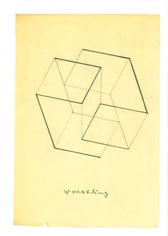 Joseph Albers, 'Wrestling' First sketch by Albers upon receiving the commission for the relief sculpture on the Commonwealth Bank building wall overlooking the piazza outside the MLC Centre building in Sydney. This relief structure constellation was the last executed work by Joseph Albers.© The Josef and Anni Albers Foundation/Bild-Kunst. Licensed by Viscopy, 2011.