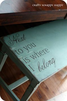 Piano Bench painted with Duck Egg Blue Chalk Paint distressed and finished off with a cute graphic