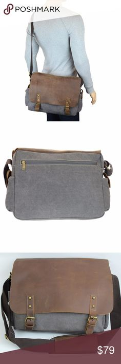 """Men's Messenger Bag Flap Laptop Bag Crossbody Сlassic messenger bag made by hand from durable canvas and tanned cow leather. Suitable for work, study. 11' H X 16""""W X 4""""D. Able to fit a 15 inch Macbook Pro Retina/Air, the new 12 inch Macbook, any laptop up to 15 inch. Two side snap pockets for storing of smartphone, coins, receipt and accessories. Spacious main compartment that fits documents, notebook, magazines, the back separate divider for tablets such as iPad. R&R Leather Bags Crossbody…"""