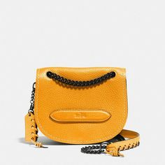 Coach Small Shadow Crossbody (6191500 BYR) ❤ liked on Polyvore featuring bags, handbags, shoulder bags, yellow, pebbled leather handbag, coach handbags, crossbody saddle bag purse, coach purses and crossbody shoulder bags