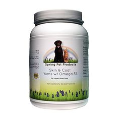 Skin & Coat Yums with Omega-3 Fatty Acids ~ Fish Oil Supplement ~ Dogs and Cats ~ Bonus Pet Care E-book ~ Recommended by Veterinarians ~ Qualty Ingredients Made in USA (Large/Giant Dogs 150 ct) Spring Pet Products http://www.amazon.com/dp/B00XRRM59M/ref=cm_sw_r_pi_dp_0x8zvb1DQHV1H