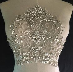 Designer Silver Sparkling Rhinestone Beaded Applique for Wed.- Designer Silver Sparkling Rhinestone Beaded Applique for Wedding & Formal Dress Designer Silver Rhinestone Beaded Applique for Wedding Dress Formal Dress - Wedding Dress Trumpet, Wedding Dress Sash, Wedding Dress Patterns, Couture Wedding Gowns, Wedding Dresses With Straps, Rustic Wedding Dresses, Fit And Flare Wedding Dress, Formal Dresses For Weddings, Modest Wedding Dresses