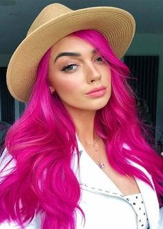 Vibrant Hot Pink Hair Color Shades to Wear in 2019 - cool hair - Hair Color Bold Hair Color, Vibrant Hair Colors, Hair Color Shades, Hair Color Highlights, Hair Dye Colors, Rose Blond, Blonde With Pink, Fucsia Hair, Hot Pink Hair