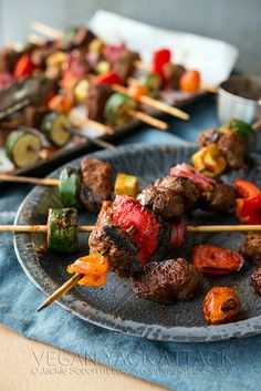 BBQ Seitan Skewers by Yack_Attack, via Flickr. Been wanting to try seitan skewers. Massel boullion.