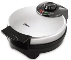 There are waffles, and then there are Belgian waffles. Belgian waffle maker creates large, round waffles with deep pockets that hold plenty of toppings and syrup. Stainless steel housing makes this Belgian-style waffle maker extra-durable.