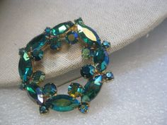"Vintage Juliana Blue/Green Aurora Borealis Circle/Wreath Brooch, 2"", Gold Tone, 1960'"